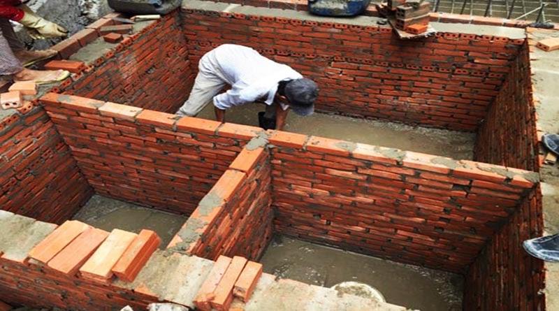 bể tự hoại 3 ngăn được xây bằng gạch