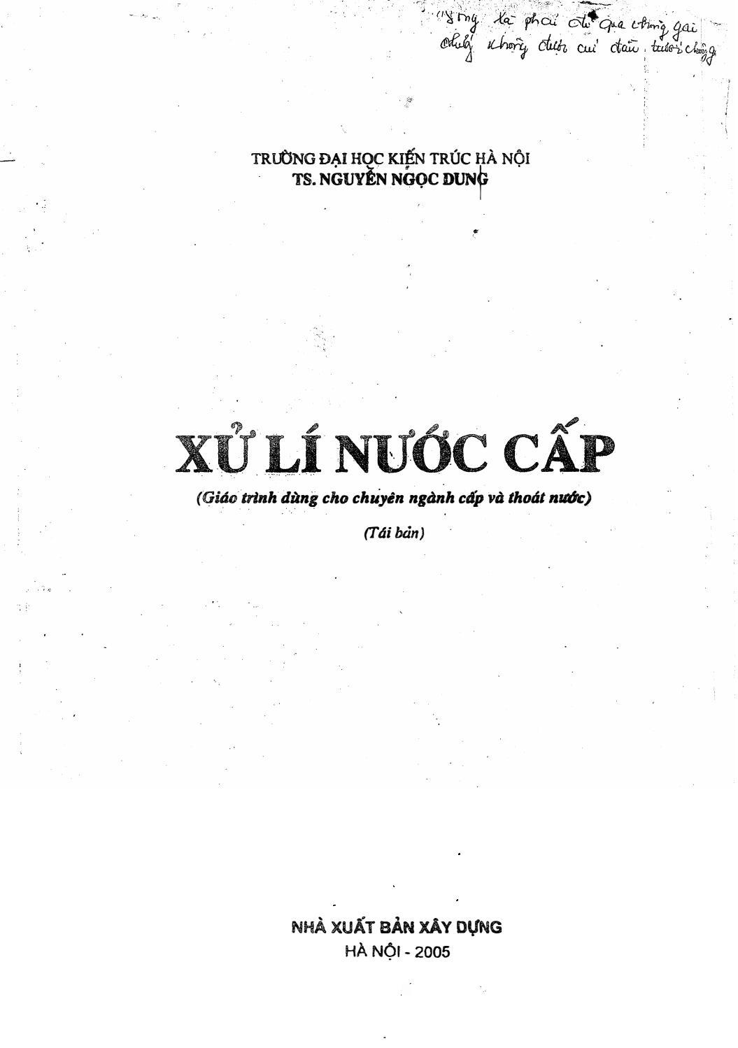 Sách xử lý nước cấp - Nguyễn Ngọc Dung